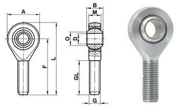Link Bearing stangkop M14 buitendraad Chroommolybdeen staal