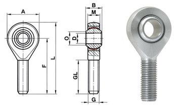 Link Bearing stangkop M14 x 1,5 buitendraad Chroommolybdeen staal